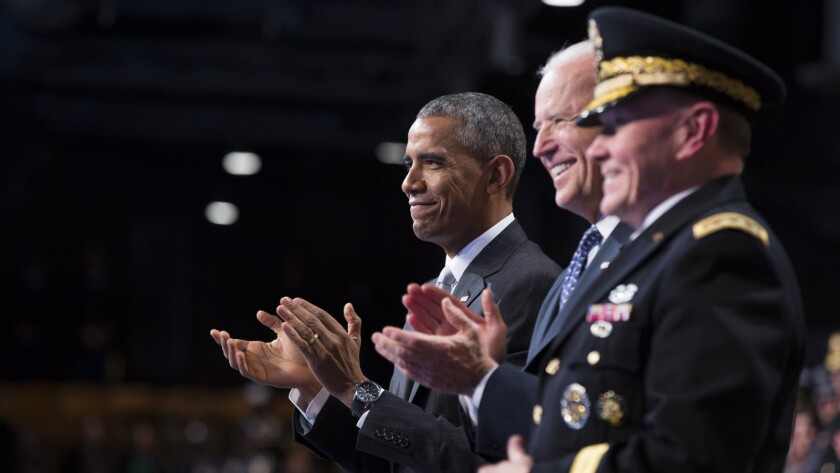 President Obama, Vice President Joe Biden and Chairman of the Joint Chiefs of Staff Gen. Martin Dempsey honoring departing Secretary of Defense Chuck Hagel in January.