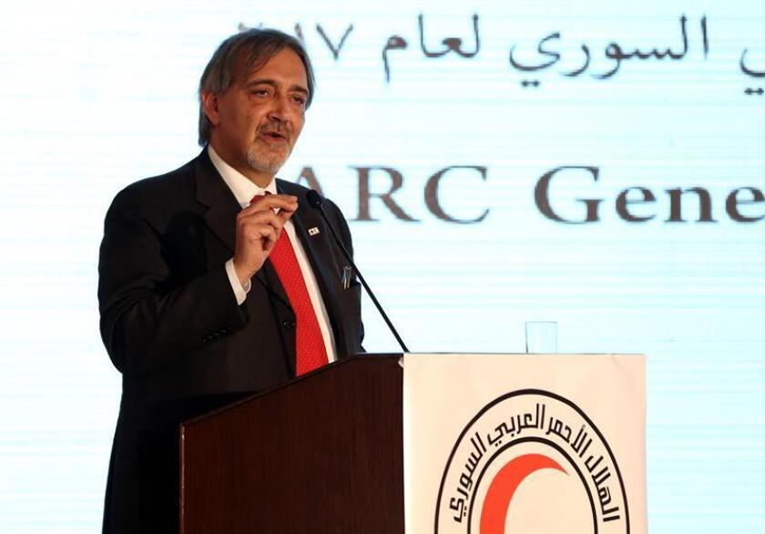 El presidente de la Federación Internacional de la Cruz Roja y la Media Luna Roja (IFRC), Francesco Rocca, pronuncia un discurso. EFE/Archivo