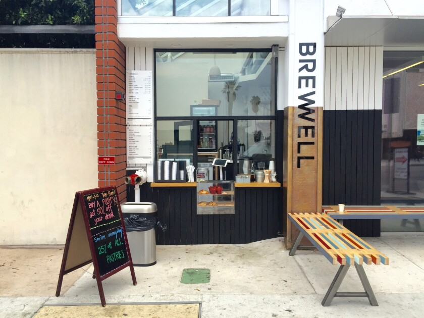 Outside BrewWell's new walk-up window in Hollywood.