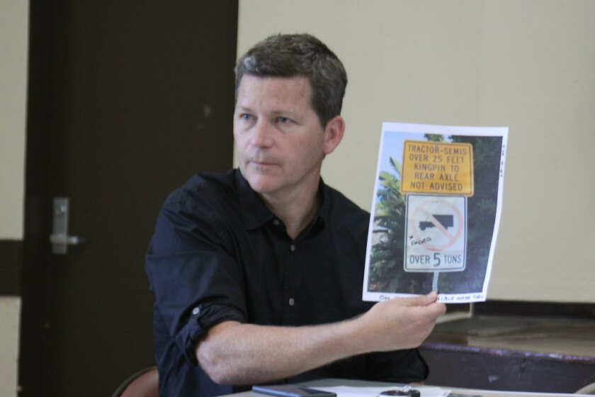 La Jolla Traffic & Transportation member Patrick Ryan with a photo of the current Hillside Drive signage