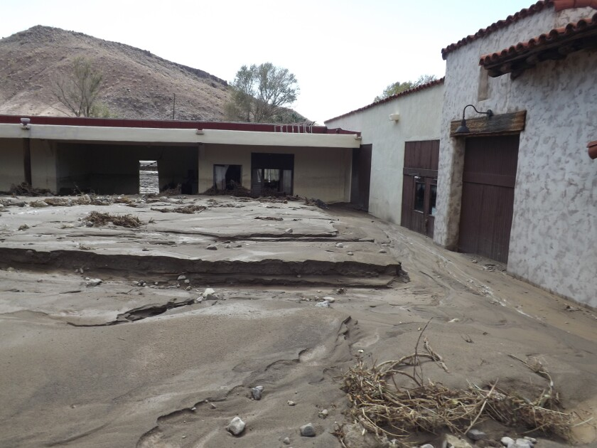 A storm on Sunday caused extensive flooding in northern Death Valley National Park, creating mudslides.