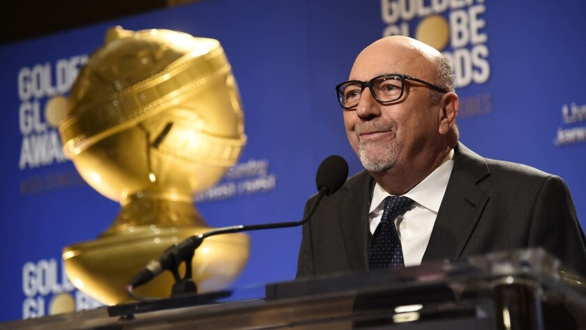 Lorenzo Soria, Hollywood Foreign Press Assn. president, speaks at the nominations for the Golden Globe Awards in 2016.