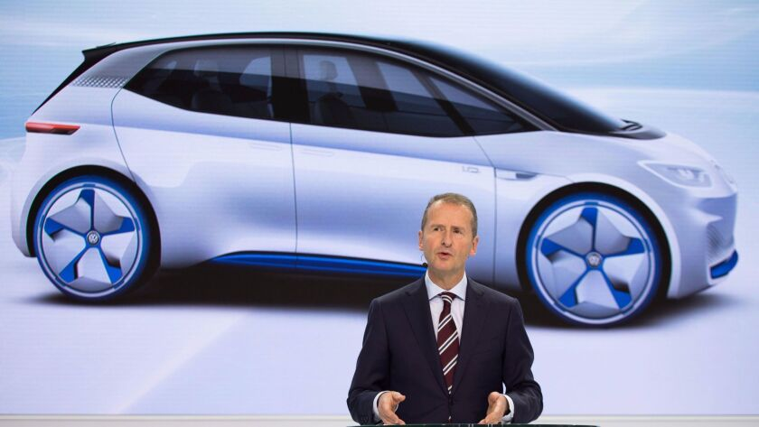 Herbert Diess, the head of VW Group's Volkswagen division, describes a plan that involves a major shift in focus toward investments in electric-car technology and in software.