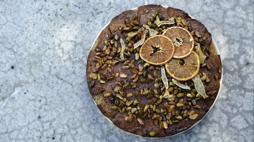 SANTA MONICA CA-February 7, 2019: To make this lemon pistachio cake at home, you'll need the followi
