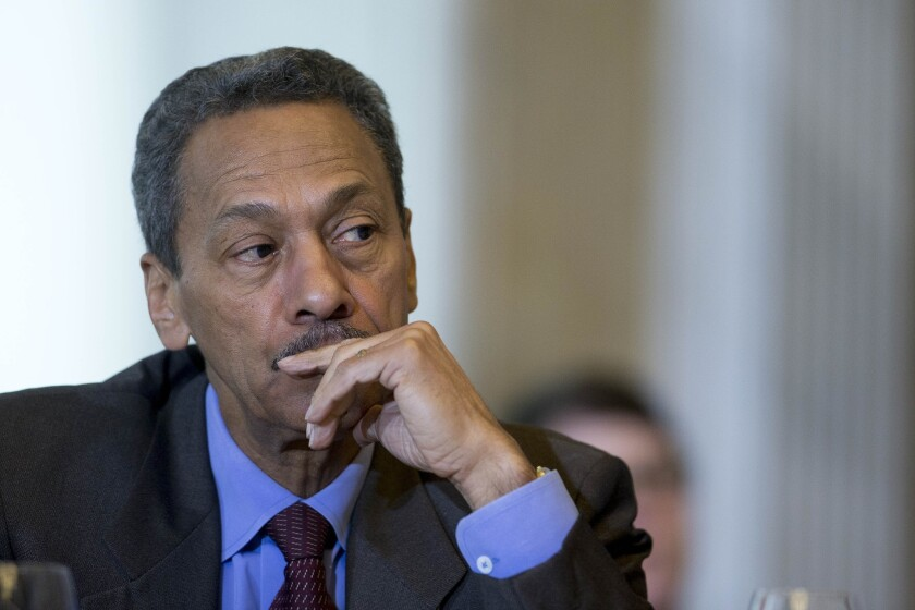 Mel Watt, director of the Federal Housing Finance Agency, listens during a Financial Stability Oversight Council meeting in Washington in May.