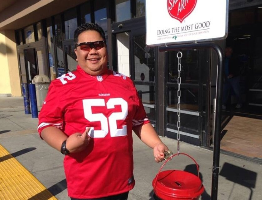 San Diego Salvation Army finance secretary Maj. Butch Soriano poses for a picture in Colton, San Bernardino County at 52 hours. This is his second year participating in the third annual World Record Bell-Ringing Contest to raise awareness for The Salvation Army's 123rd Red Kettle Campaign. He and t