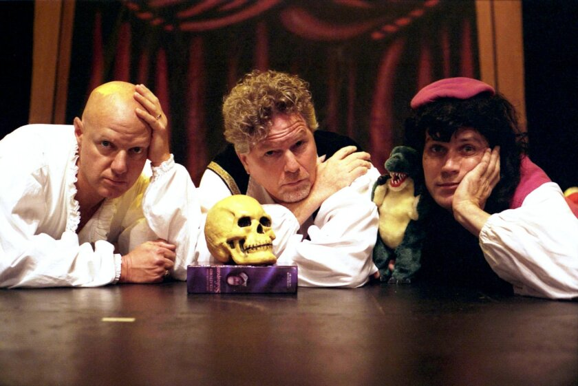 Hey, we've got more than 140 characters to play with here! The Reduced Shakespeare Company: Reed Martin (left), Austin Tichenor, Matt Rippy.