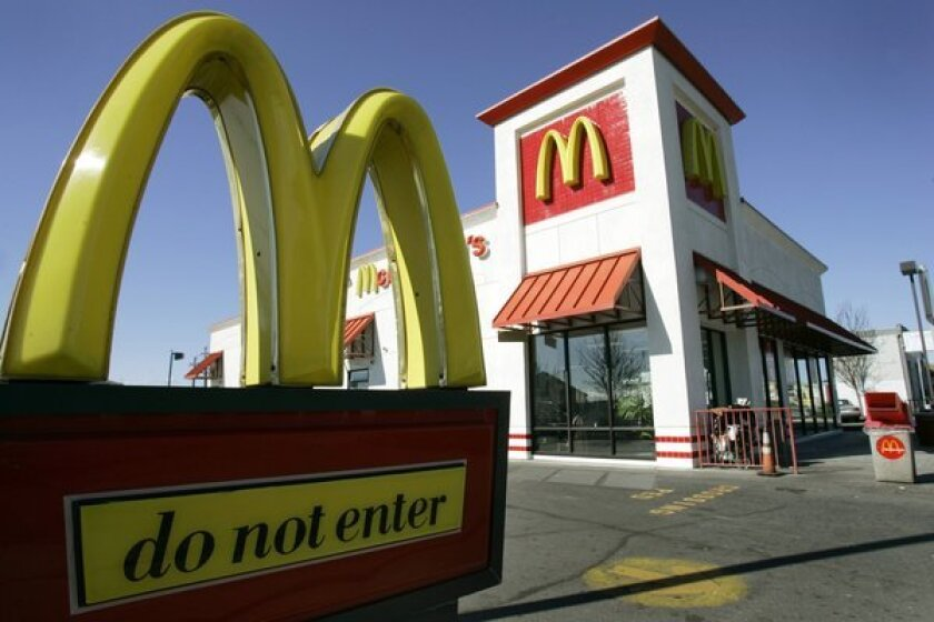 A McDonald's restaurant in El Cerrito. The chain reported its first monthly sales decline in nine years.