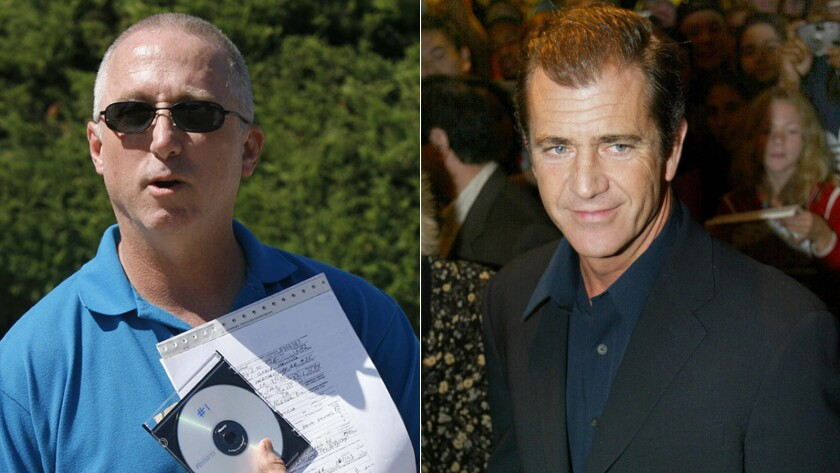 L.A. County Sheriff's Deputy James Mee, left, denied leaking Mel Gibson's anti-Semitic comments to TMZ.com after his 2006 arrest. Mee says he was singled out for harassment and eventually fired.
