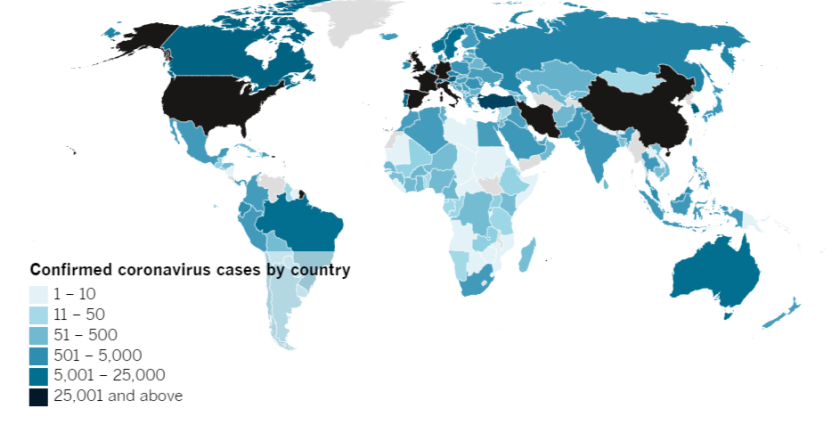 Confirmed COVID-19 cases by country as of 4 p.m. PDT Thursday, April 2.