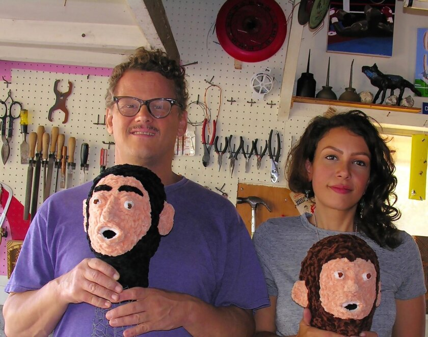 Don Porcella with his studio manager Sammy Jean Wilson and simian friends