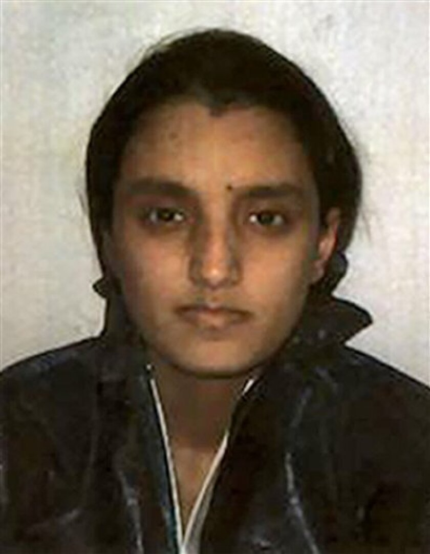 This is an undated image released by Metropolitan Police of Roshonara Choudhry. Choudhry a student opposed to the Iraq war was convicted Tuesday Nov. 2, 2010 of trying to murder a British lawmaker in retaliation for his support for the conflict. Roshonara Choudhry, 21, a communications and English major at London's prestigious King's College, stabbed parliamentarian Stephen Timms twice in the stomach as he met with constituents in May of this year. (AP Photo/Metropolitan Police, HO)