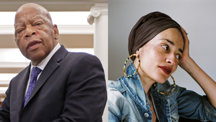 "Rep. John Lewis, D-Ga., left, and Zadie Smith, author of ""Swing Time."""