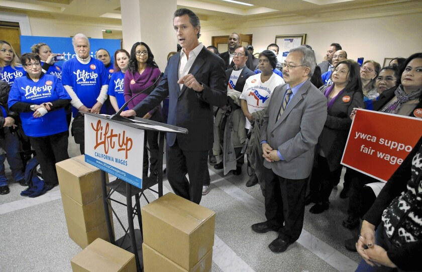 Gavin Newsom and Ed Lee address supporters
