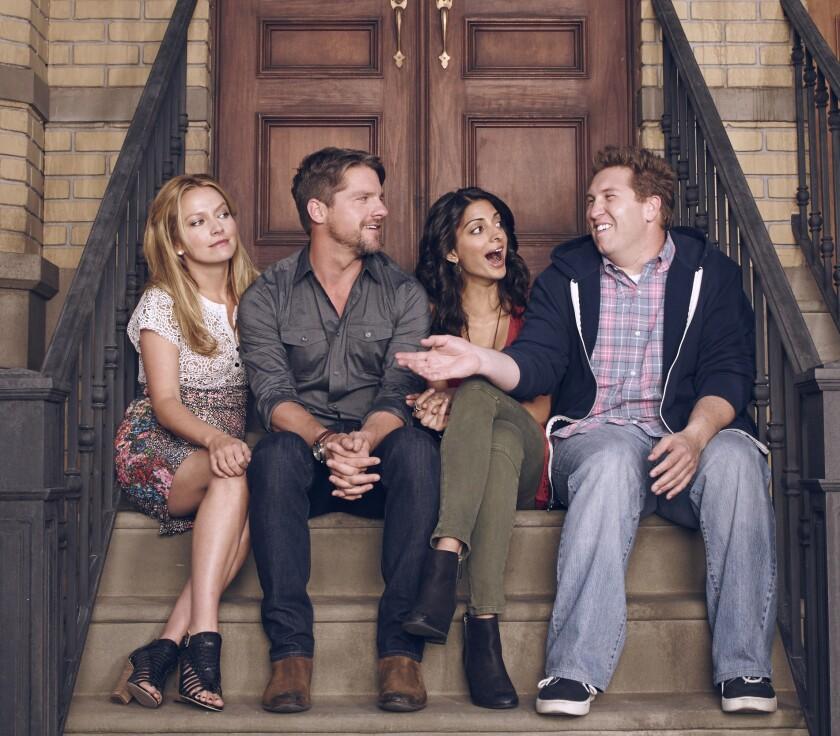 """Becki Newton, Zachary Knighton, Meera Rohit Khumbhani and Nate Torrence star in """"Weird Loners."""""""