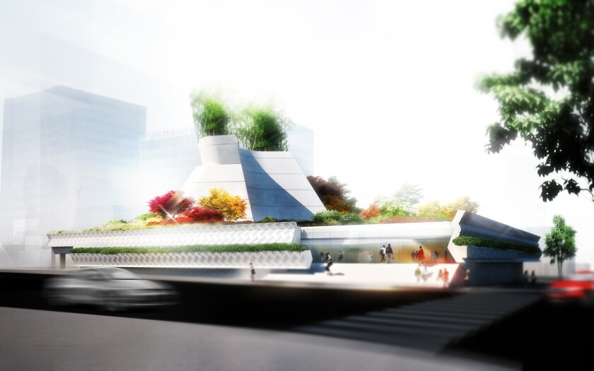 A rendering for the Korean American National Museum, designed by Morphosis Architects. The venue is scheduled to open in Los Angeles' Koreatown in 2022.
