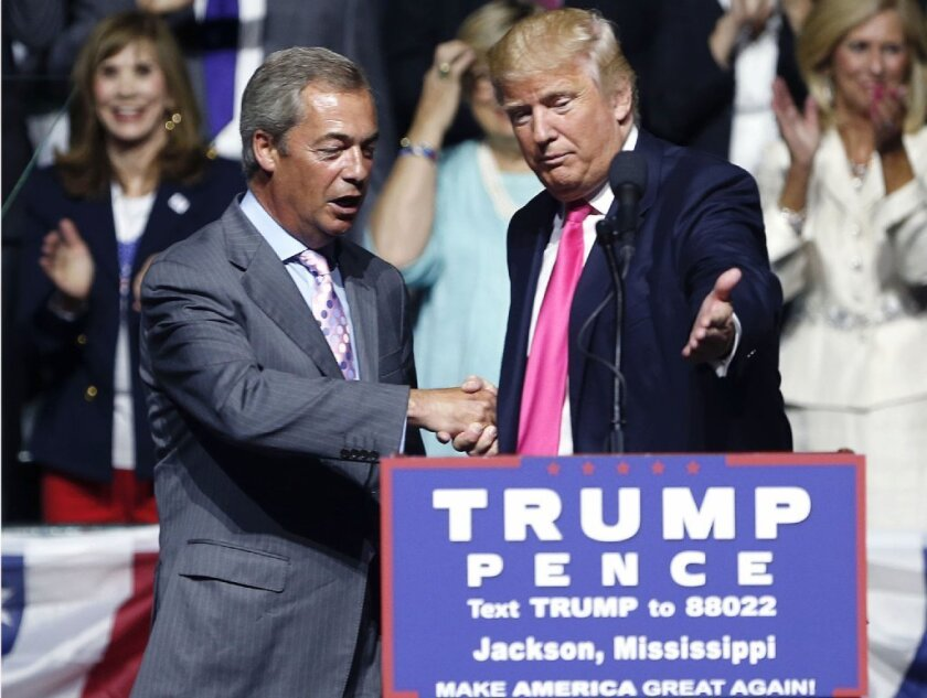 """Then-candidate Donald Trump, right, welcomed British politician and Brexit architect Nigel Farage at a campaign rally in Jackson, Miss., last summer. Farage called Trump's campaign a """"revolution."""""""