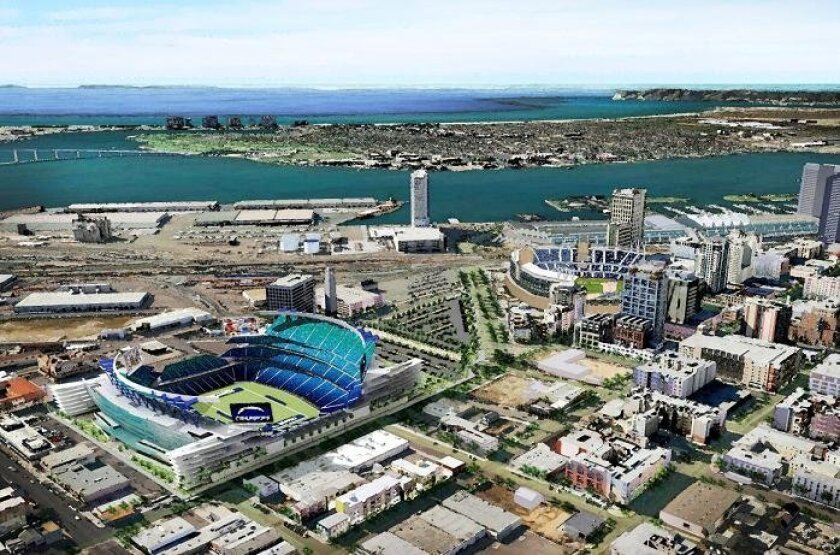 An artist's rendering of the proposed downtown stadium.