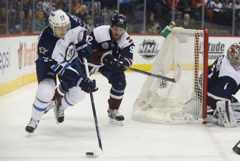 Winnipeg Jets center Mark Scheifele, left, wraps around the net for a shot as Colorado Avalanche left wing Gabriel Landeskog, of Sweden, and goalie Semyon Varlamov, of Russia, defend during the second period of an NHL hockey game Saturday, Feb. 6, 2016, in Denver. (AP Photo/David Zalubowski)
