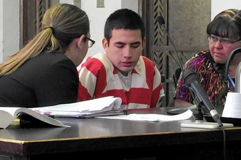 Mario Nieblas, who turned 17 in jail, could be sentenced to three years in adult prison if convicted of smuggling marijuana from Mexico into the U.S. Above, he appears in court in Cochise County, Ariz., on April 28.
