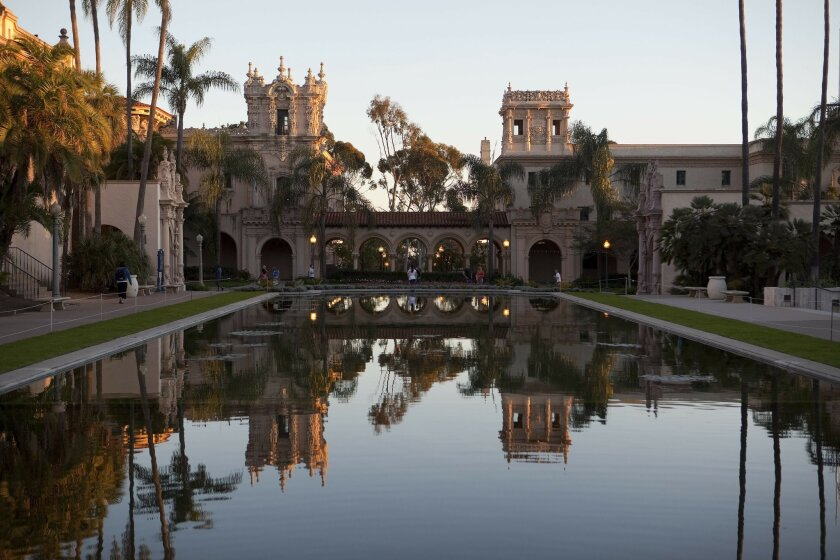 Balboa Park's iconic lily pond (with the Casa de Balboa in the background).
