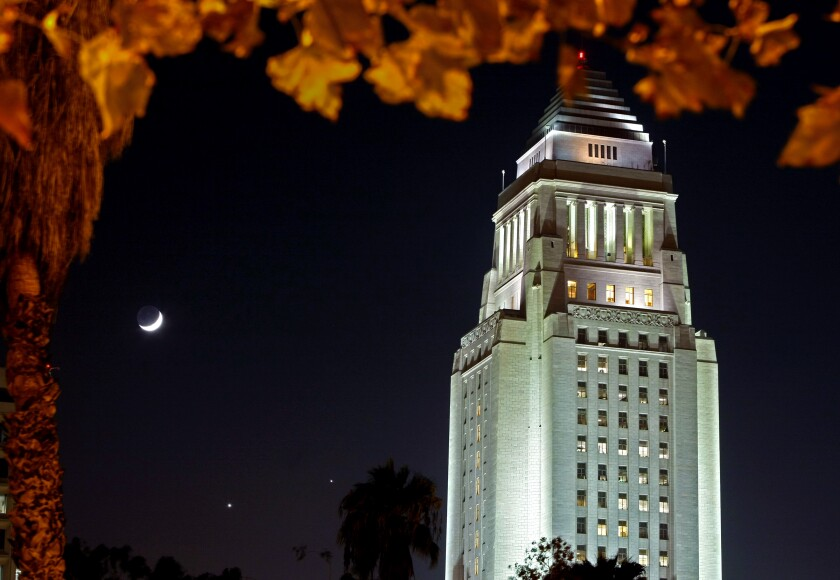 Los Angeles City Hall is lighted up at night