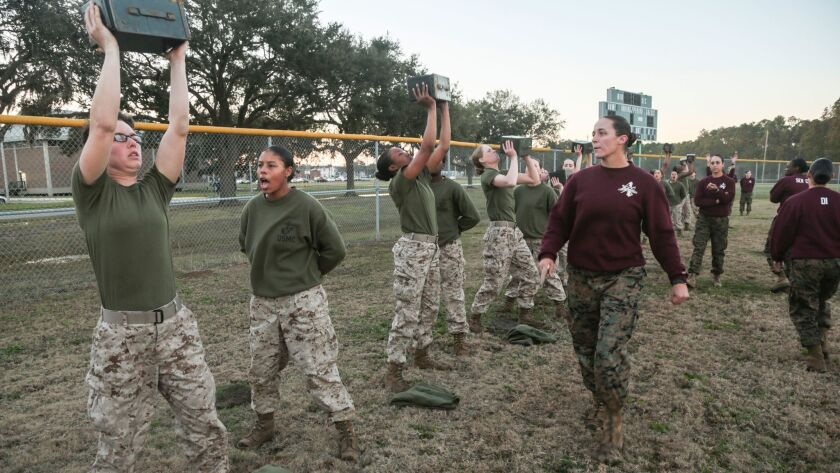 U.S. Marine Corps recruits with platoon 4004, N. Co., 4th Battalion, Recruit Training Regiment, comp