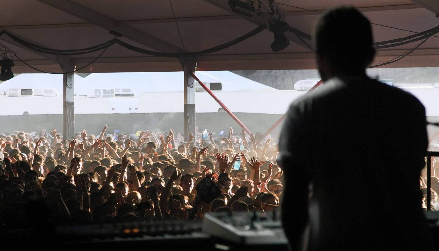Disclosure performs at the Underground Stage during the Hard Summer music festival.