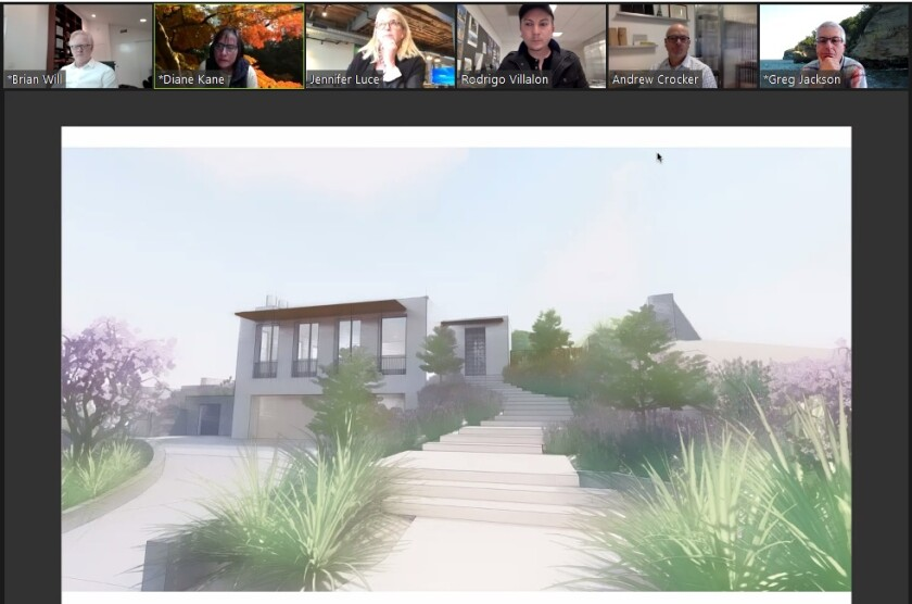 La Jolla's Development Permit Review Committee evaluates renderings for a home development planned for Folsom Drive.
