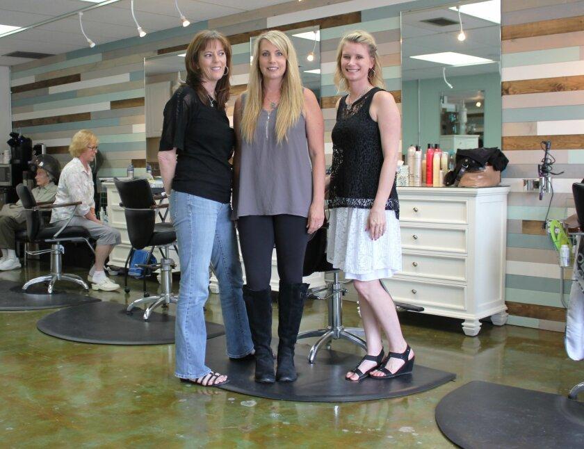 Nail technician Tina Vanderpoel, owner-stylist Lesa Tomaiko and stylist Kimberly Phillips of Turquoise Salon, 675 Turquoise St.