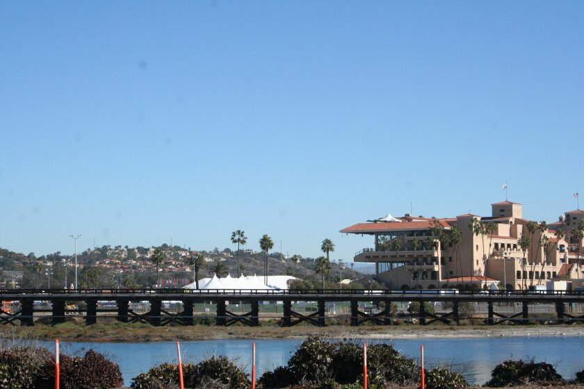 The nearly 100-year-old wooden trestle rail bridge over the San Dieguito River.