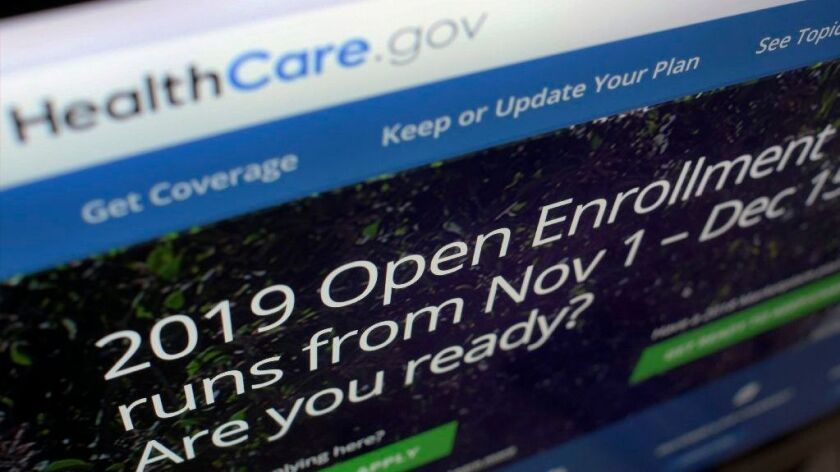 The HealthCare.gov website on a computer screen in New York in October 2018.