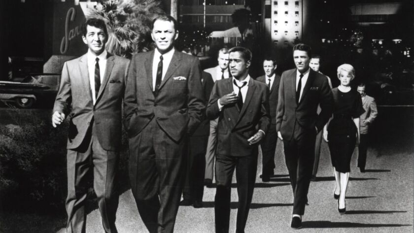 OCEANS S ELEVEN 1960 Warner film with from left Dean Martin Frank Sinatra Sammy Davis Jnr Peter Lawford and Angie Dickinson