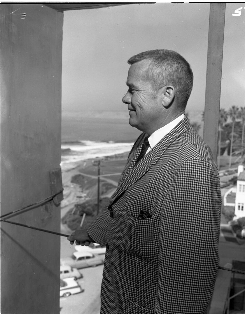 Developer Orville Huntley surveys his newly opened Huntley Building in 1964.