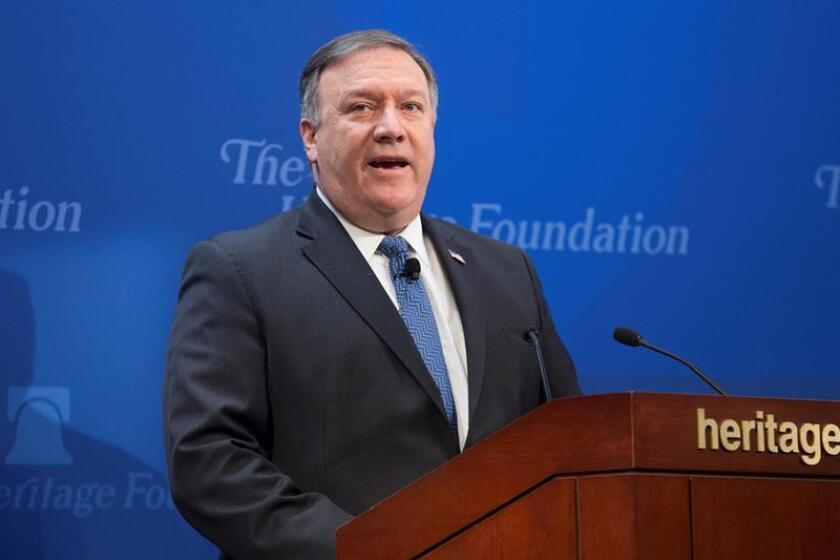 El secretario de Estado de EE.UU., Mike Pompeo, ofrece una rueda de prensa en Washington, Estados Unidos. EFE/Archivo