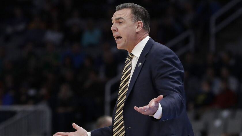 UC Irvine head coach Russell Turner gestures during a first-round game in last year's NCAA tournament   in San Jose.