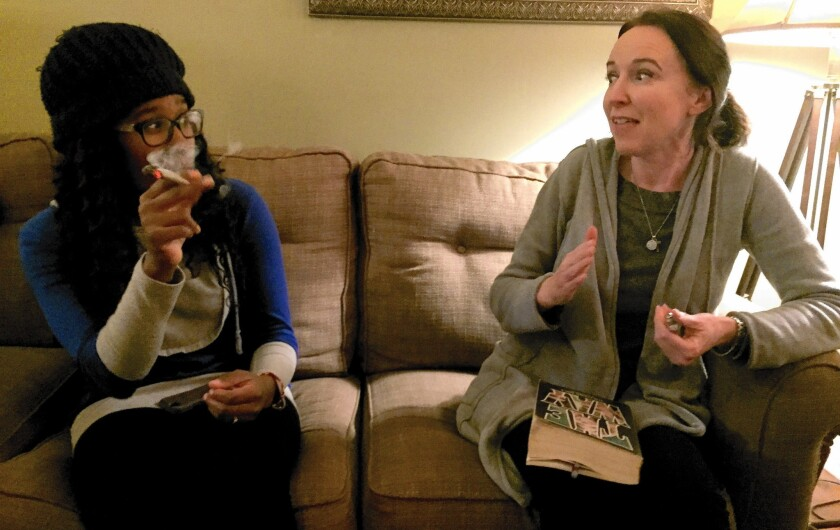 """I didn't love my fellow man until I got high,"" says Deb Button, right, at Stoner Jesus Bible Study with Mia Williams, a member."