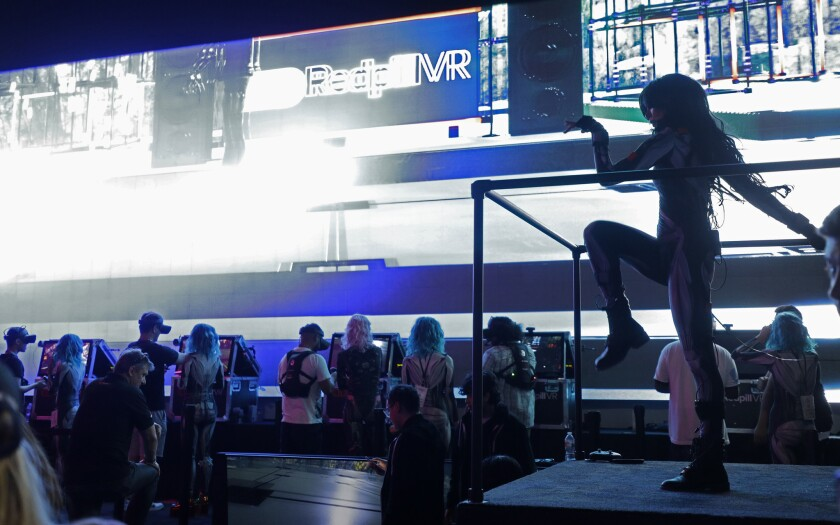 LOS ANGELES, CA -- JUNE 11, 2019: Live dancers perform at the Redpill VR Sensorium during E3 at the
