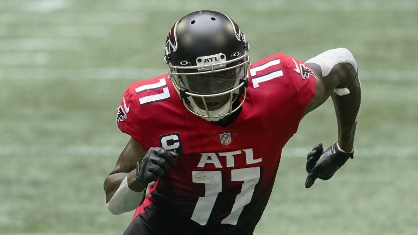 Atlanta Falcons wide receiver Julio Jones runs on the field against the Detroit Lions
