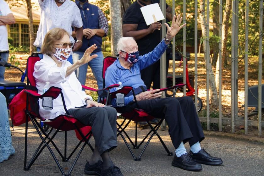 Former President Jimmy Carter and former first lady Rosalynn Carter, Thursday, Oct. 1, 2020 in Plains, Ga.