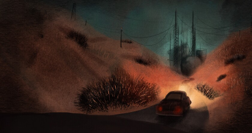 An illustration shows a car on a road in a hilly landscape.