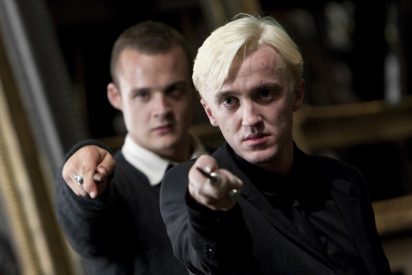 "Josh Herdman, left, played Gregory Goyle, sidekick to Tom Felton's Draco Malfoy, in the ""Harry Potter"" movies."
