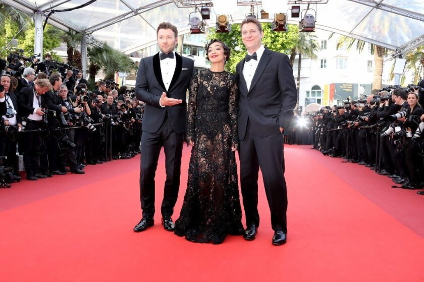 """Actor Joel Edgerton, actress Ruth Negga and director Jeff Nichols at the screening of """"Loving"""" at the 69th Cannes Film Festival."""