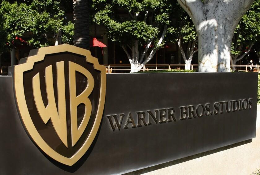 The Warner Bros logo outside the Warner Bros. Studio lot in Burbank.