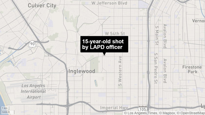 Location of the shooting of an unarmed 15-year-old boy in South Los Angeles.