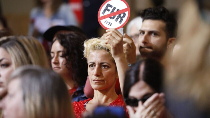 LOS ANGELES, CA ? SEPTEMBER 18, 2018: Emek Echo holds a sign as the Los Angeles City Council votes t