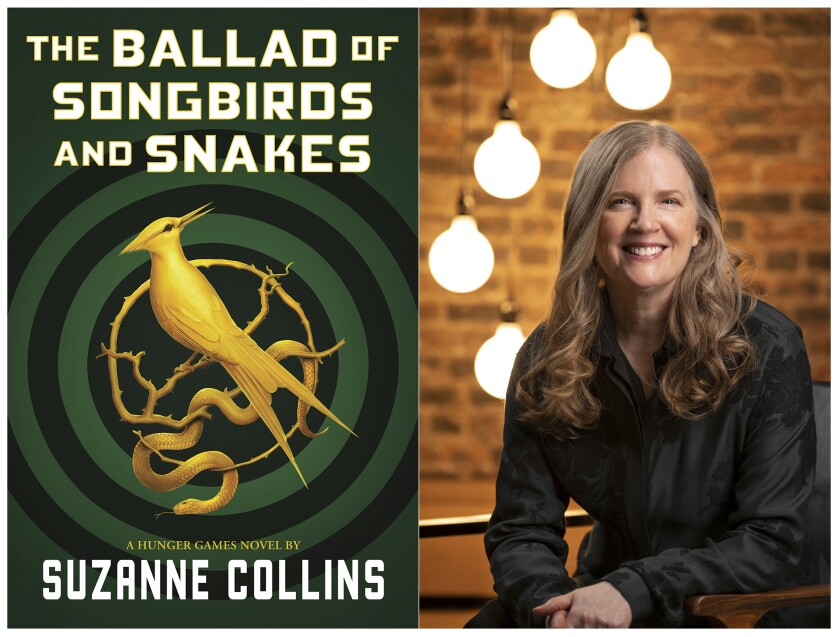 "The cover image for ""The Ballad of Songbirds and Snakes,"" by Suzanne Collins, left, and a portrait of Collins."