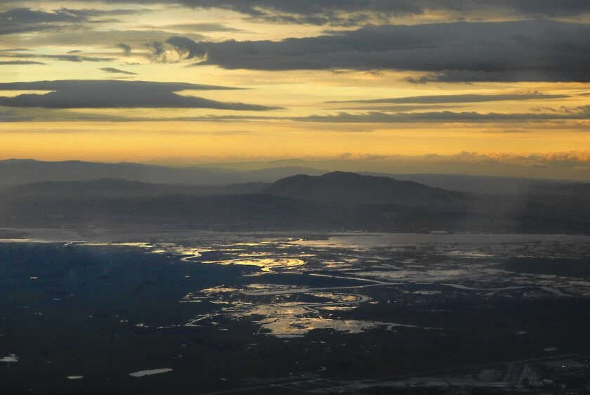 The view from a research aircraft studying sky rivers: Mt. Diablo and the Sacramento River delta.