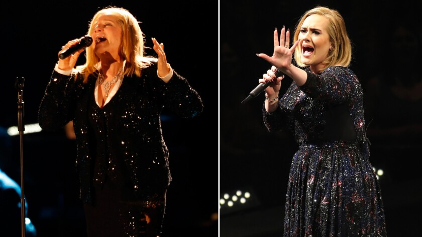 Barbra Streisand, left, kicks off a tour Tuesday at Staples Center. Then Adele will take over the downtown arena for eight nights starting Aug. 5.
