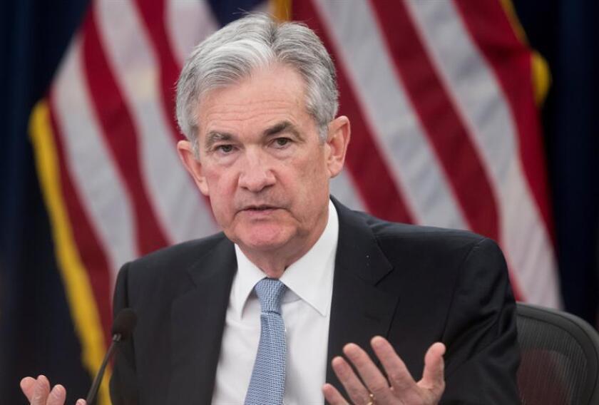 El presidente de la Reserva Federal (Fed) Jerome Powell ofrece una rueda de prensa en Washington, Estados Unidos. EFE/Archivo